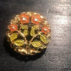 Orange flowers brooch